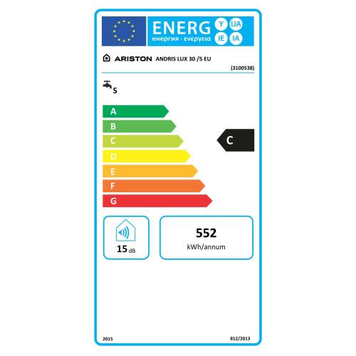 Boiler electric Ariston ANDRIS LUX 30 EU, 30 litri, indicator LED, rezervor emailat, control mecanic, element incalzire cupru