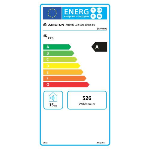 Boiler electric Ariston ANDRIS LUX ECO 15 U EU, 15 litri, clasa energetica A, afisaj LED, rezervor emailat