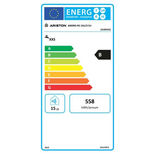 Boiler electric Ariston ANDRIS RS 15 U EU, 1200 W, sub chiuveta, 15 litri, indicator LED, rezervor emailat, control mecanic