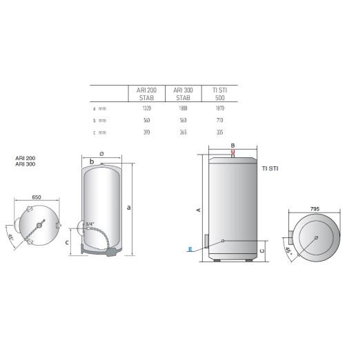 Boiler electric Ariston TI STI 500, capacitate 500 litri, Rezervor emailat titan, Tehnologie Nanomix + Best