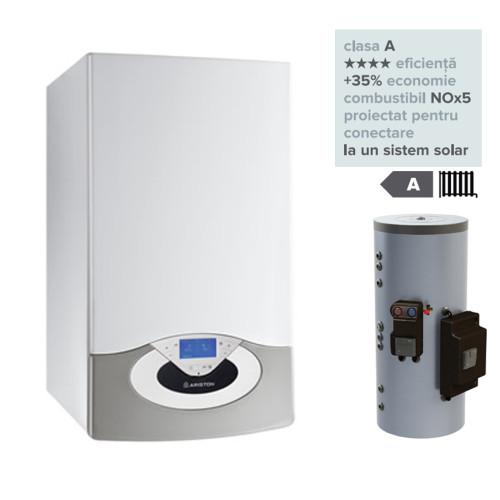 Pachet centrala termica in condesare Genus Premium HP Evo 45 EU cu panouri solare si modul boiler solar Kairos Combi 800 EU