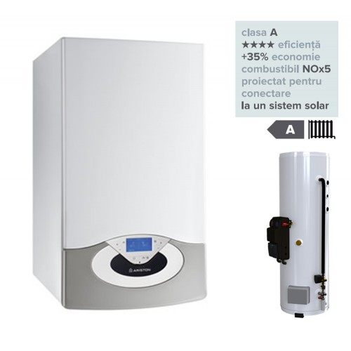 Pachet centrala termica in condesare Genus Premium HP Evo 65 EU cu panouri solare si modul boiler solar Kairos Extra CD2 500 EU