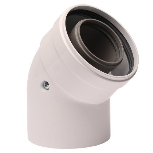 Cot prelungire evacuare centrala termica condensare ATI 45 grade, PP/ALL, diametru 60 / 100