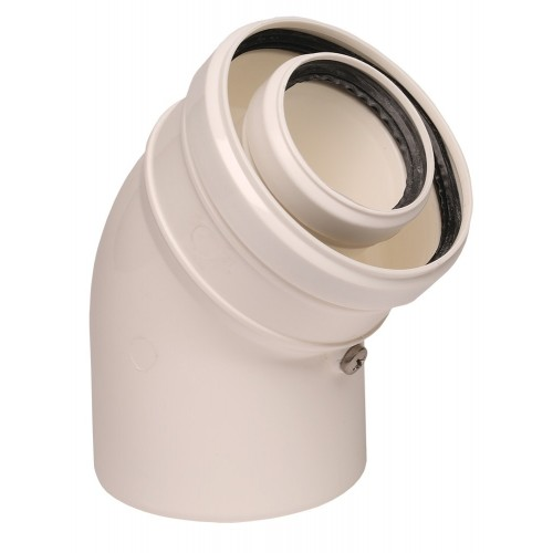 Cot prelungire evacuare centrala termica condensare ATI 45 grade, PP/PP, diametru 60 / 100