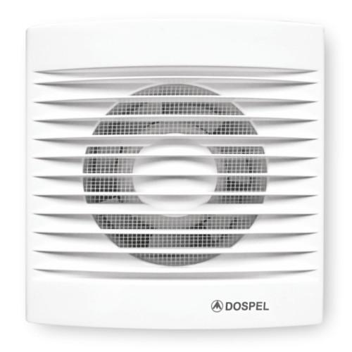 Ventilator casnic axial de perete cu intrerupator fir Dospel STYL 100 WP, debit aer 100 mc/h, diametru 100 mm, Plasa anti-insecte, Alb