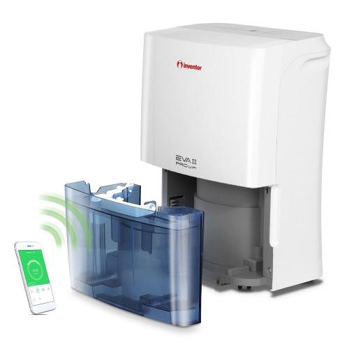 Dezumidificator casnic Inventor EVA II Pro WiFi16L, capacitate 16 litri, 3 Trepte ventilatie, Mod uscare haine, Dezumidificare inteligenta, Roti mobile