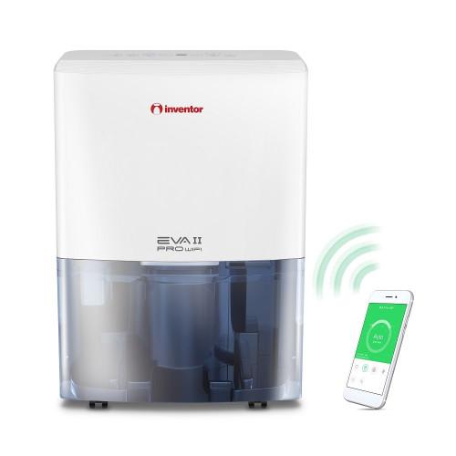 Dezumidificator casnic Inventor EVA II Pro WiFi20L, capacitate 20 litri, 3 Trepte ventilatie, Mod uscare haine, Dezumidificare inteligenta, Roti mobile