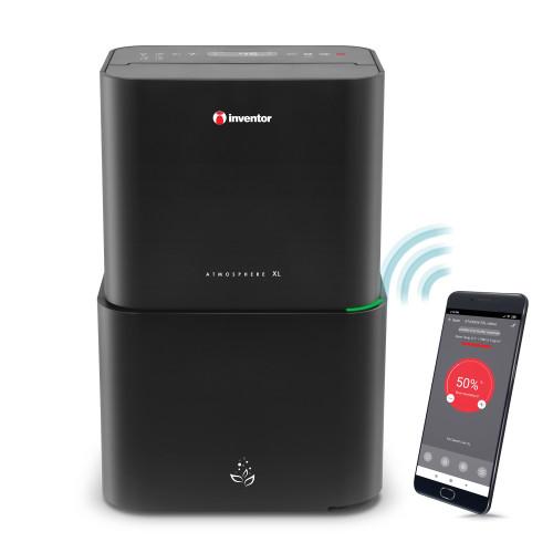 Dezumidificator si purificator aer Inventor Atmosphere XL, capacitate 25 litri/zi, Filtru HEPA, Lampa UVC, Ionizator, Senzor PM2.5, WiFi