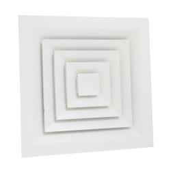 Anemostat rectangular ventilatie sau climatizare 4 directii, 445 x 445 mm, rama aluminiu, alb