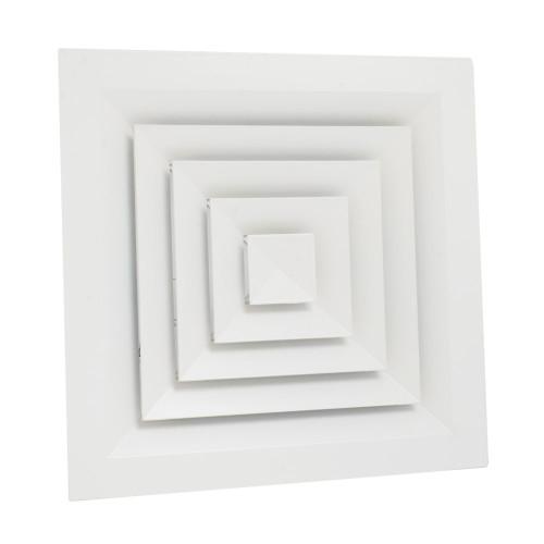 Anemostat rectangular ventilatie sau climatizare 4 directii, 595 x 595 mm, rama aluminiu, alb