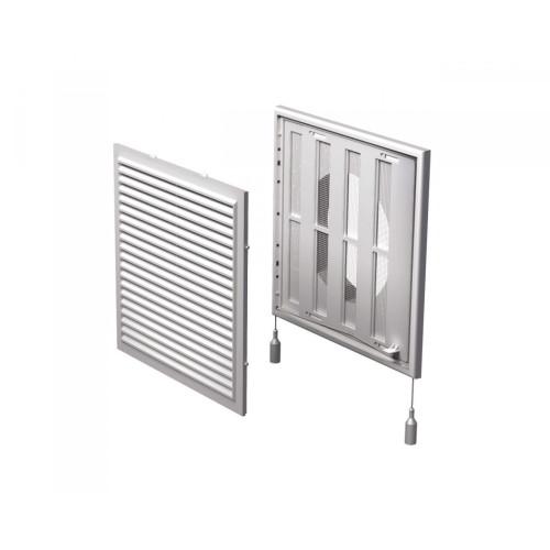 Grila ventilatie rectangulara cu plasa de insecte si clapeta antiretur Vents MV 250/150 VRs, ABS