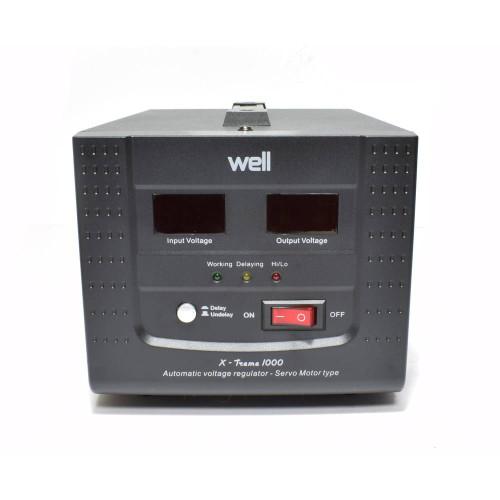 Stabilizator automat de tensiune cu servomotor Well Xtream 1000VA, Protectie la Tensiune scazuta, Supratensiune, Supraincalzire, Scurt Circuit