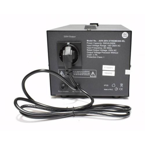 Stabilizator automat de tensiune cu servomotor Well Xtream 500VA, Protectie la Tensiune scazuta, Supratensiune, Supraincalzire, Scurt Circuit