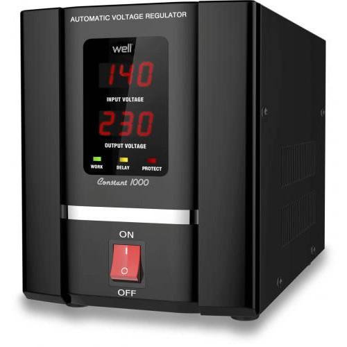 Stabilizator automat de tensiune cu servomotor Well 500VA, AVR-SRV-CONSTANT500-WL, Protectie la Tensiune scazuta, Supratensiune, Supraincalzire, Scurt Circuit