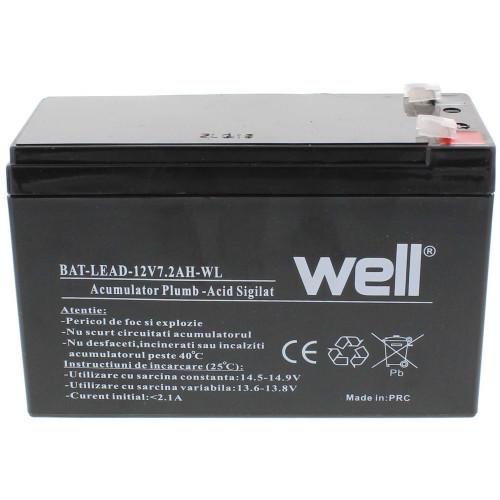 Acumulator plumb acid Well 12V 7.2AH, sigilat, nu necesita mentenanta