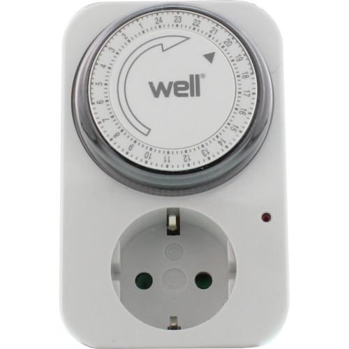 Priza programabila mecanica Well, TIMER-MEC-01-WL, programare 24 ore, 220V, 16A