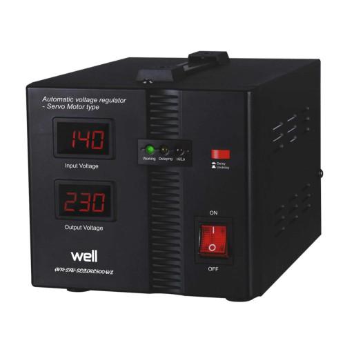 Stabilizator automat de tensiune cu servomotor Well Secure 500VA, Protectie la Tensiune scazuta, Supratensiune, Supraincalzire, Scurt Circuit
