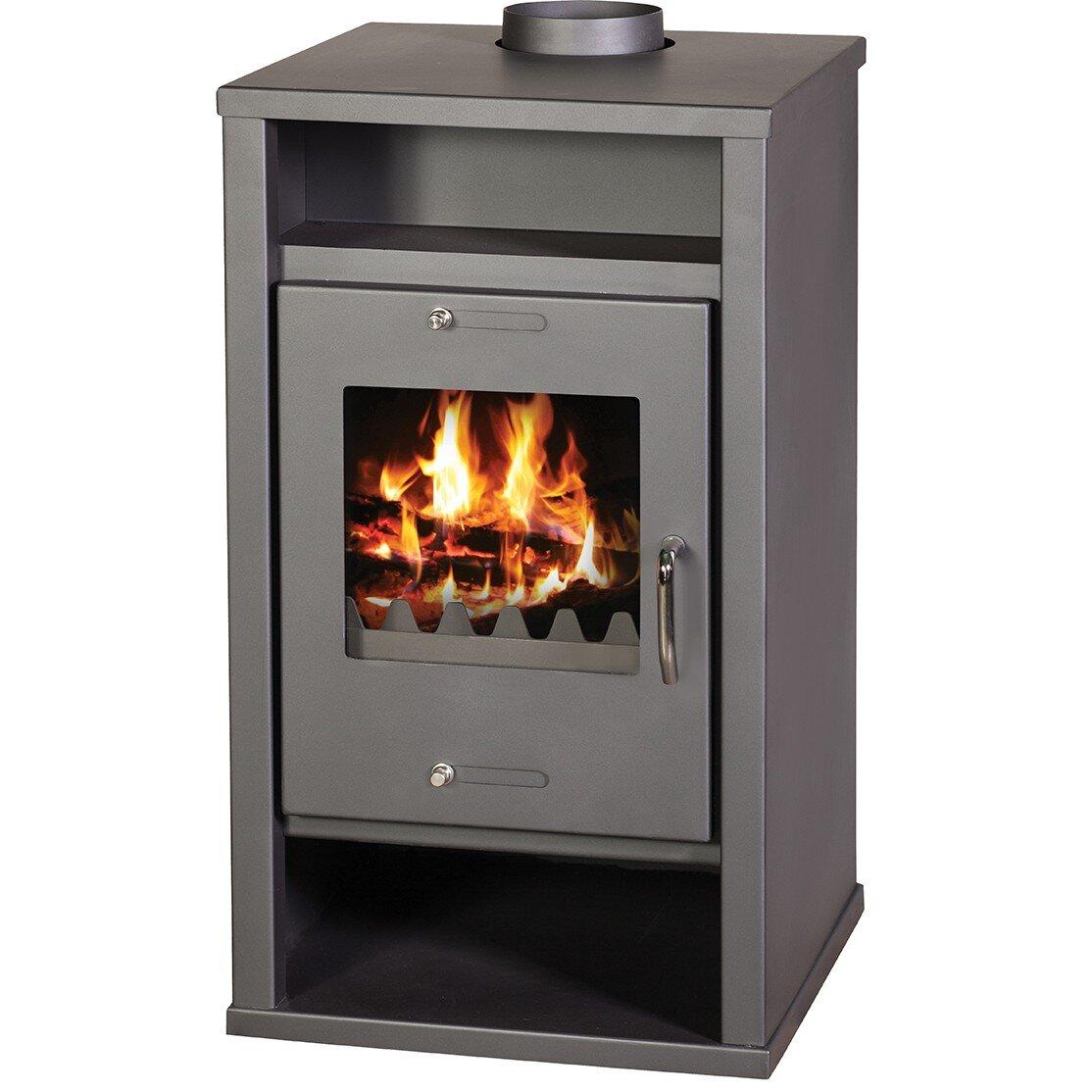 Soba pe lemne tip centrala termica Victoria Deluxe B, capacitate 12 kW, clasa A, eficienta 73%, culoare gri
