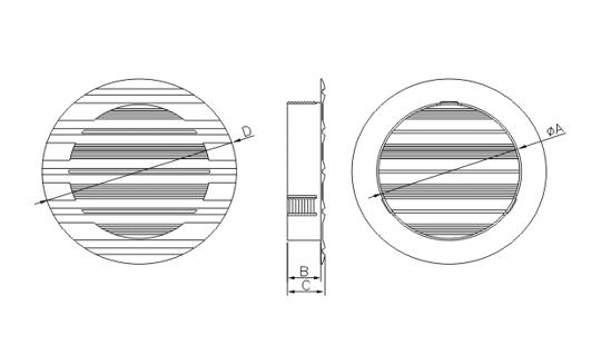 Dimensiuni grila ventilatie Dospel BELLA