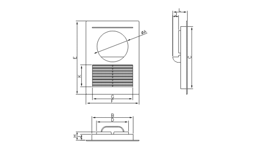 Dimensiuni grila ventilatie Dospel D/14 100 OW