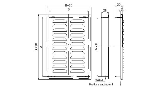 Dimensiuni grila metalica ventilatie Dospel D/AK 140x140