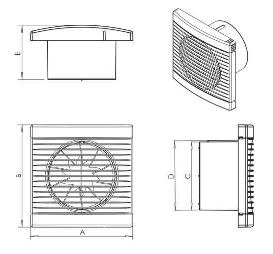 Dimensiuni ventilator casnic Dospel Play Modern 100 WC