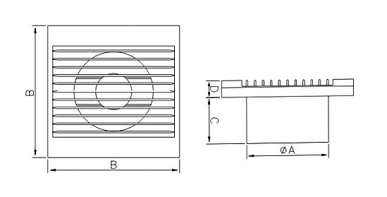 Dimensiuni ventilator casnic Dospel Styl WP