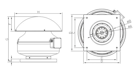 Dimensiuni ventilator industrial Dospel WD 250