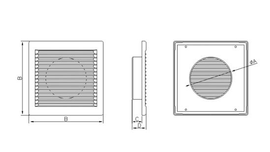 Dimensiuni grila ventilatie Dospel DL 150 RW