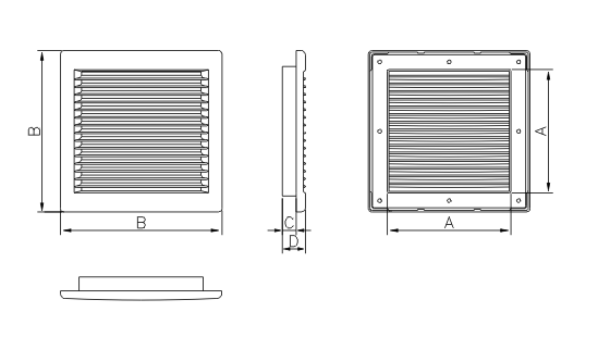 Dimensiuni grila ventilatie Dospel DL/135 RW