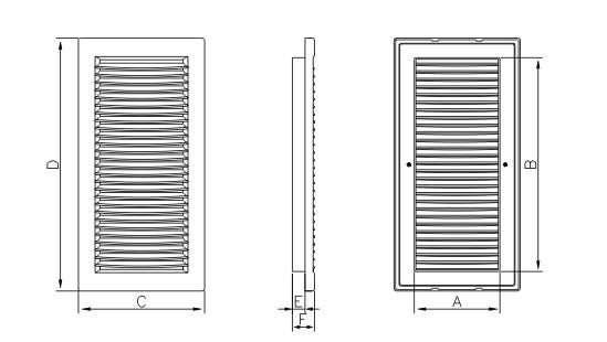Dimensiuni grila ventilatie Dospel DL/140x210 RW