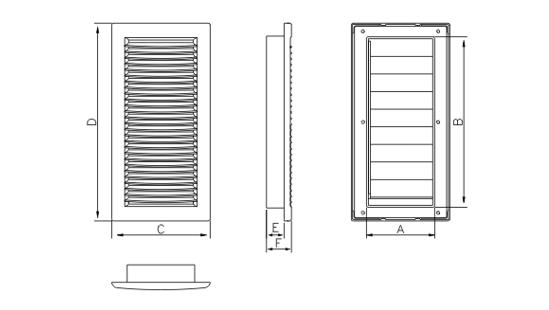 Dimensiuni grila ventilatie Dospel DL 90x240 Z