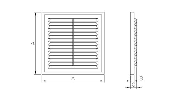 Dimensiuni grila ventilatie Dospel D 250 RW