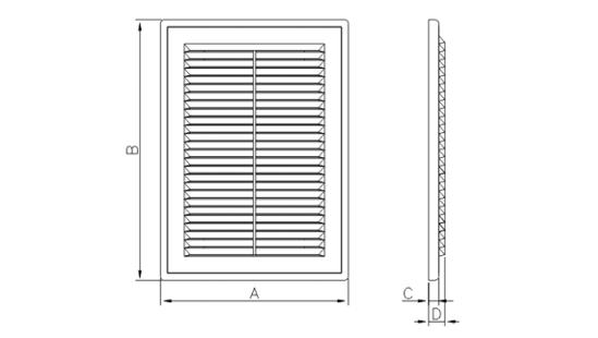 Dimensiuni grila ventilatie Dospel D 180x250 RW