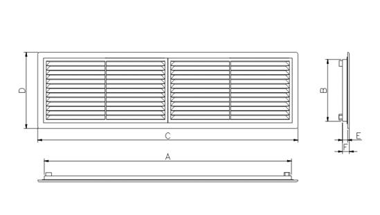 Dimensiuni grila ventilatie Dospel D 430x110 RW