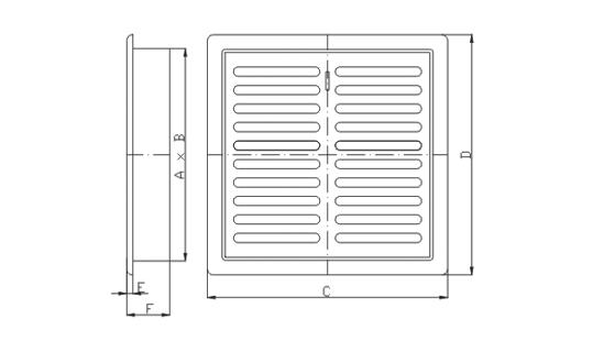 Dimensiuni grila ventilatie Dospel D/TK 140 /B