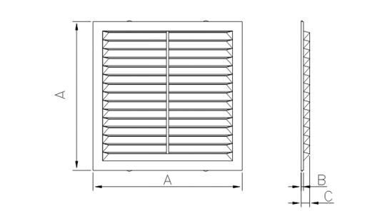 Dimensiuni grila ventilatie Dospel D 195 W