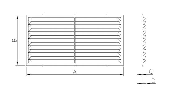 Dimensiuni grila ventilatie Dospel D 220x120 W