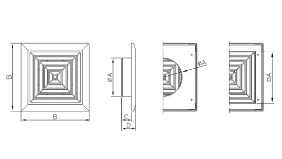 Dimensiuni grila ventilatie Dospel KKS 165