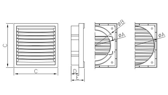 Dimensiuni grila ventilatie Dospel KR 150