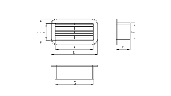 Dimensiuni grila ventilatie Dospel KZP 110x55