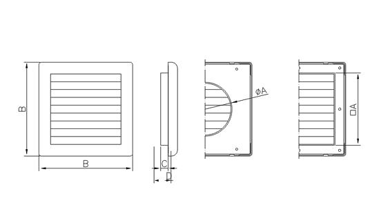 Dimensiuni grila ventilatie Dospel NKM 150