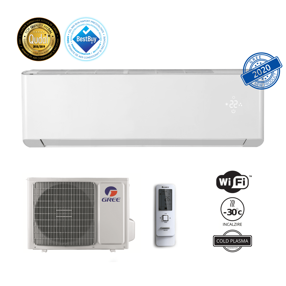 Aer conditionat Gree Amber 24000 BTU, ECO Inverter, A+, freon R32, Control WiFi, Cold Plasma si Filtru Catechin, I Feel, Afisaj Ceas, Alb