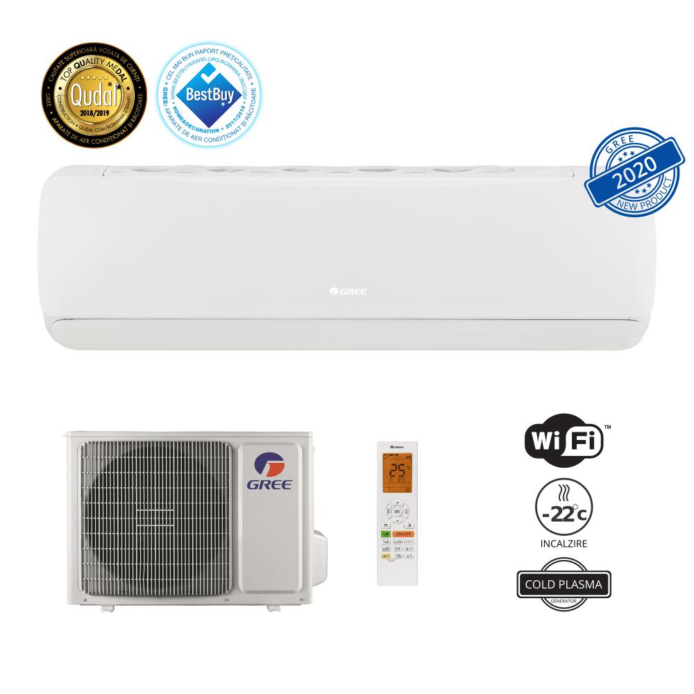 Aer conditionat Gree G-Tech 12000 BTU, 5 nivele de curatare, A+++, freon R32, Control WiFi, Cold Plasma si Filtru Catechin, I Feel, Afisaj Ceas, Alb