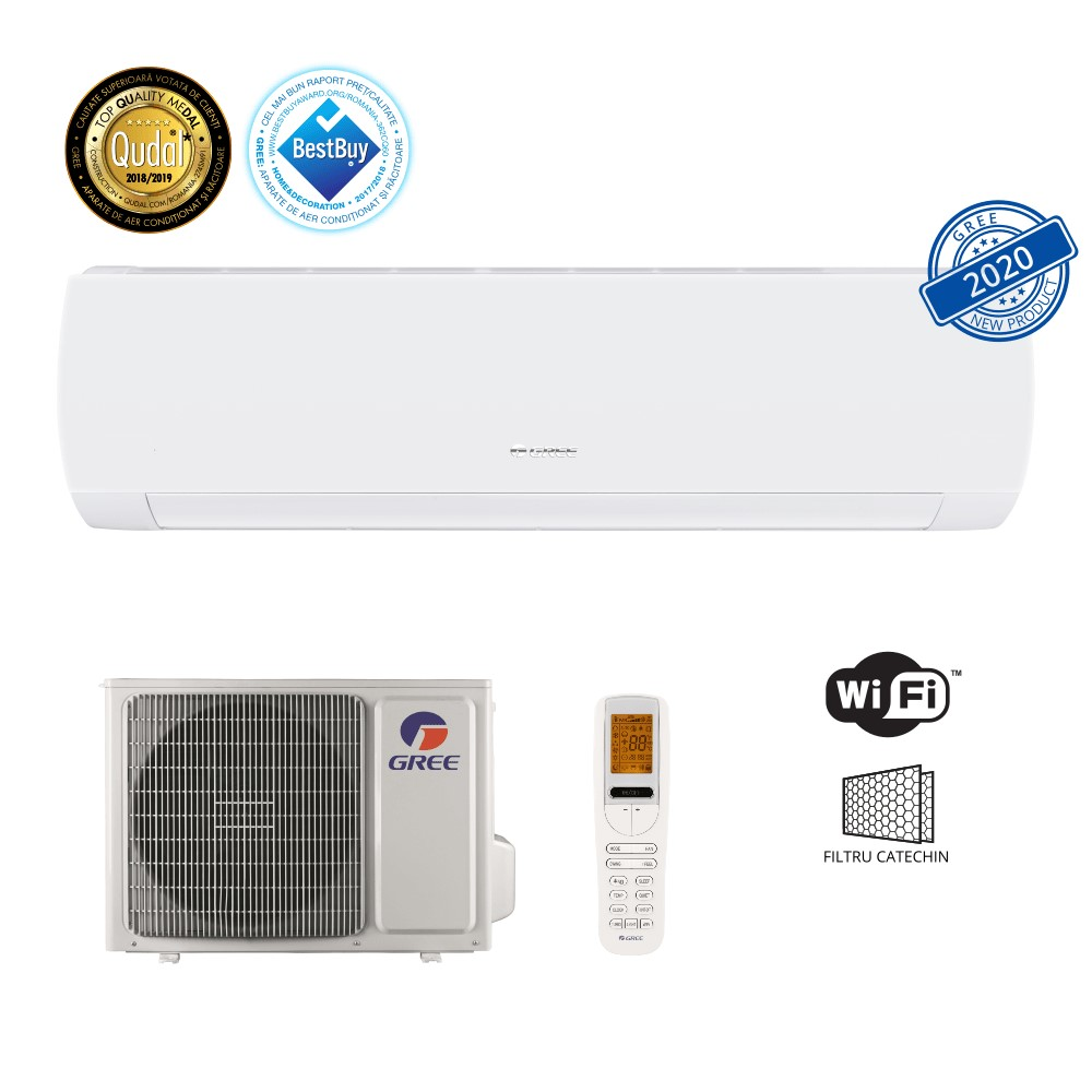 Aer conditionat Gree Muse 18000 BTU, A++, freon R32, Control WiFi, Filtru Catechin, I Feel, Afisaj Ceas, Alb