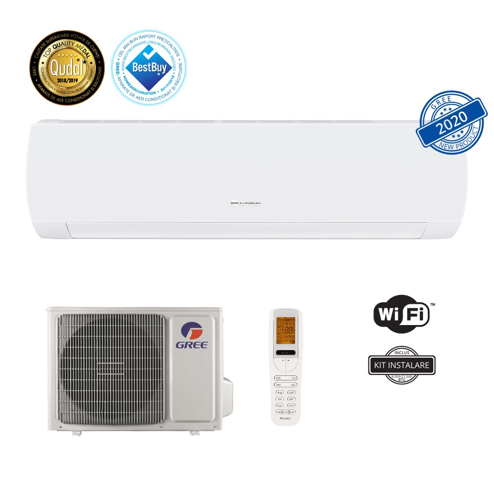 Aer conditionat Gree Muse 12000 BTU, A++, freon R32, Control WiFi, Filtru Catechin, I Feel, Afisaj Ceas, Kit instalare inclus