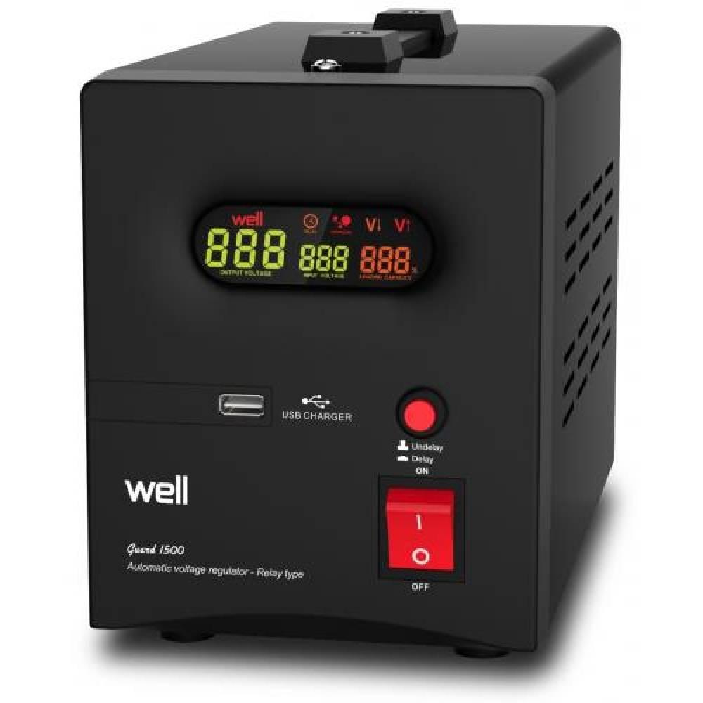 Stabilizator de tensiune cu releu Well 1500 VA, AVR-REL-GUARD1500-WL, Iesire USB